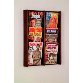 6 Pocket (2Wx3H) Acrylic & Oak Wall Display - Mahogany