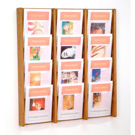 12 Pocket (3Wx4H) Acrylic & Oak Wall Display - Medium Oak