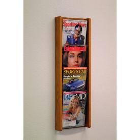 4 Pocket (4H) Acrylic & Oak Wall Display - Medium Oak