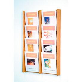 8 Pocket (2Wx4H) Acrylic & Oak Wall Display - Light Oak
