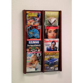 8 Pocket (2Wx4H) Acrylic & Oak Wall Display - Mahogany