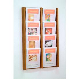 8 Pocket (2Wx4H) Acrylic & Oak Wall Display - Medium Oak