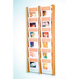 12 Pocket (2Wx6H) Acrylic & Oak Wall Display - Light Oak