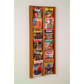 12 Pocket (2Wx6H) Acrylic & Oak Wall Display - Medium Oak