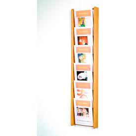 6 Pocket (6H) Acrylic & Oak Wall Display - Light Oak
