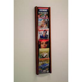 6 Pocket (6H) Acrylic & Oak Wall Display - Mahogany