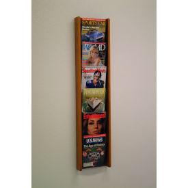 6 Pocket (6H) Acrylic & Oak Wall Display - Medium Oak