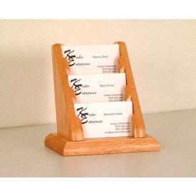 3 Pocket Counter Top Business Card Holder - Light Oak