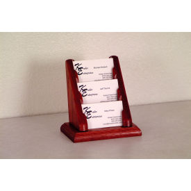 3 Pocket Counter Top Business Card Holder - Mahogany