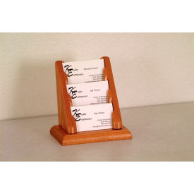 3 Pocket Counter Top Business Card Holder - Medium Oak