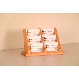 6 Pocket Counter Top Business Card Holder - Light Oak