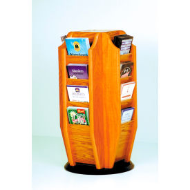 Countertop 16 Brochure Rotary Display - Medium Oak