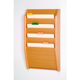 4 Pocket Chart Holder Light Oak by