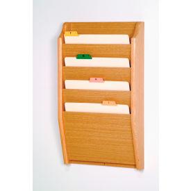 4 Pocket Chart Holder - Light Oak