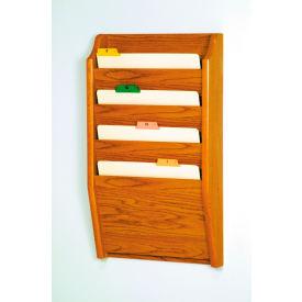 4 Pocket Chart Holder - Medium Oak