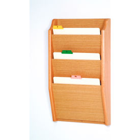 3 Pocket Chart Holder Light Oak by