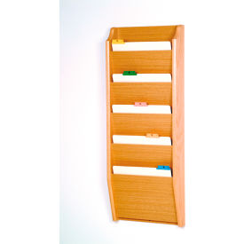 5 Pocket Chart Holder - Light Oak