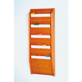 5 Pocket Chart Holder - Medium Oak
