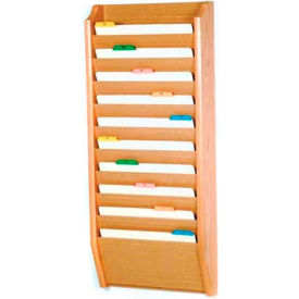 Wooden Mallet 10 Pocket Legal Size File Holder, Light Oak