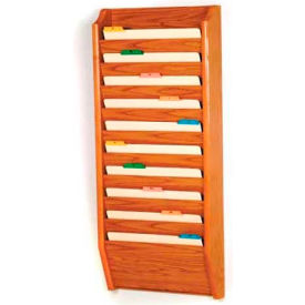 Wooden Mallet 10 Pocket Legal Size File Holder, Medium Oak