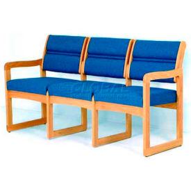 Wooden Mallet Valley Three Seat Sofa with Sled Base, Arch Designer Fabric, Slate/Medium Oak