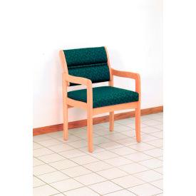 Guest Chair w/ Arms - Light Oak/Burgundy Leaf Pattern Fabric