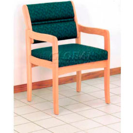 Wooden Mallet Valley Guest Chair with Standard Leg, Solid Vinyl, Mocha/Light Oak