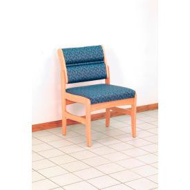 Guest Chair w/o Arms - Light Oak/Green Water Pattern Fabric