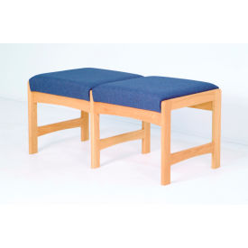 Two Person Bench - Light Oak/Rose Water Pattern Fabric