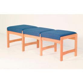 Three Person Bench - Mahogany/Green Leaf Pattern Fabric