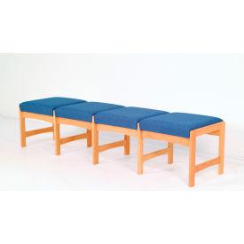 Four Person Bench - Light Oak/Blue Leaf Pattern Fabric