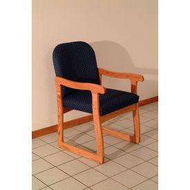 Single Sled Base Chair w/ Arms - Light Oak/Blue Vinyl