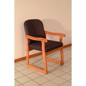 Single Sled Base Chair w/ Arms - Mahogany/Gray Arch Pattern Fabric