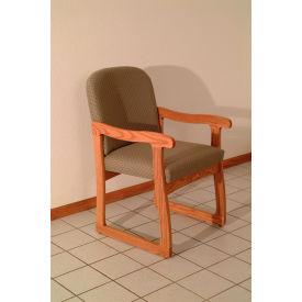Single Sled Base Chair w/ Arms - Mahogany/Cream Vinyl