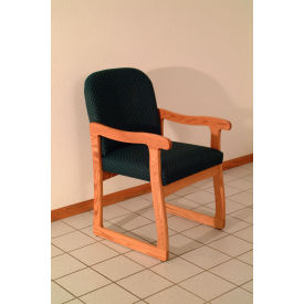 Single Sled Base Chair w/ Arms - Mahogany/Green Vinyl