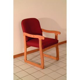 Single Sled Base Chair w/ Arms - Mahogany/Burgundy Vinyl