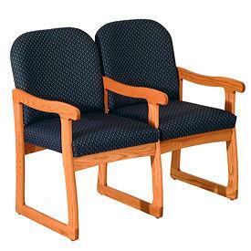 Double Sled Base Chair w/ Arms - Mahogany/Blue Vinyl