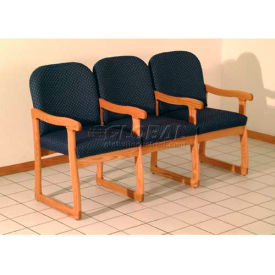 Wooden Mallet Prairie Three Seat Chair with Center Arms, Solid Vinyl, Black/Light Oak by