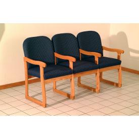 Triple Sled Base Chair w/ Arms - Mahogany/Burgundy Vinyl