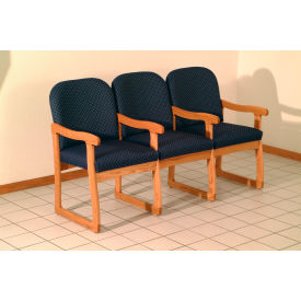 Triple Sled Base Chair w/ Arms - Mahogany/Earth Water Pattern Fabric