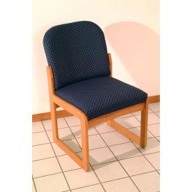 Single Sled Base Chair w/o Arms - Light Oak/Green Water Pattern Fabric