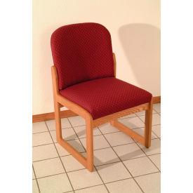 Single Sled Base Chair w/o Arms - Mahogany/Burgundy Arch Pattern Fabric