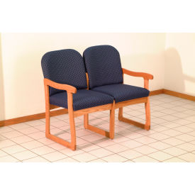 Double Sled Base Chair w/ End Arms - Mahogany/Blue Arch Pattern Fabric