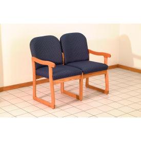 Double Sled Base Chair w/ End Arms - Mahogany/Cream Vinyl