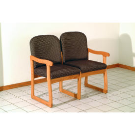 Double Sled Base Chair w/ End Arms - Medium Oak/Gray Arch Pattern Fabric