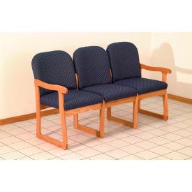 Triple Sled Base Chair w/ End Arms - Light Oak/Blue Vinyl