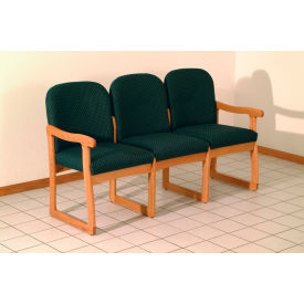 Triple Sled Base Chair w/ End Arms - Mahogany/Green Arch Pattern Fabric