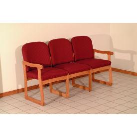 Triple Sled Base Chair w/ End Arms - Medium Oak/Burgundy Arch Pattern Fabric