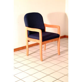 Single Standard Leg Chair w/ Arms - Light Oak/Blue Arch Pattern Fabric