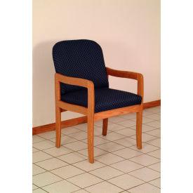 Single Standard Leg Chair w/ Arms - Mahogany/Green Water Pattern Fabric